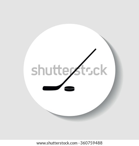 Icon hockey stick and puck. - stock vector