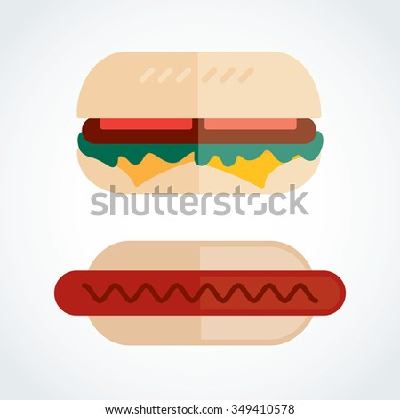Icon Hot dog put vegetables, cheese, sauce  - stock vector