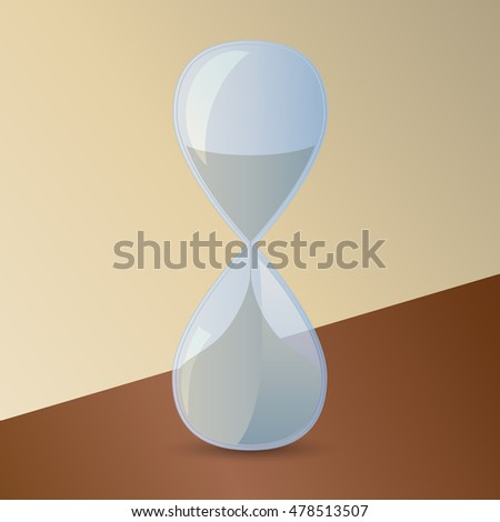 icon hourglass, on a yellow background the brown table, vector