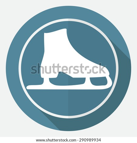 Icon ice skates on white circle with a long shadow - stock vector