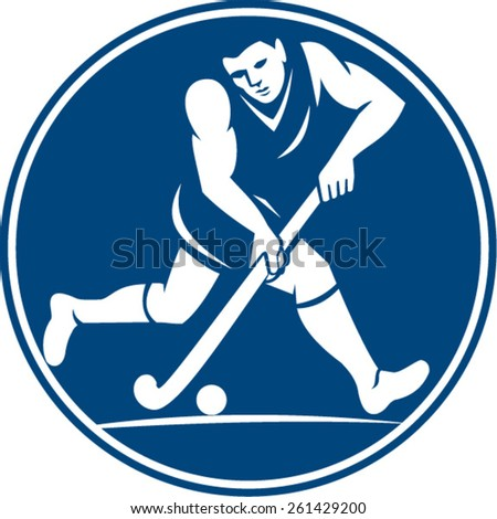 Icon illustration of a field hockey player running with stick striking ball viewed from side set inside circle done in retro style on isolated background.