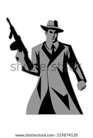 Icon illustration of a man holding a tom gun  - stock vector