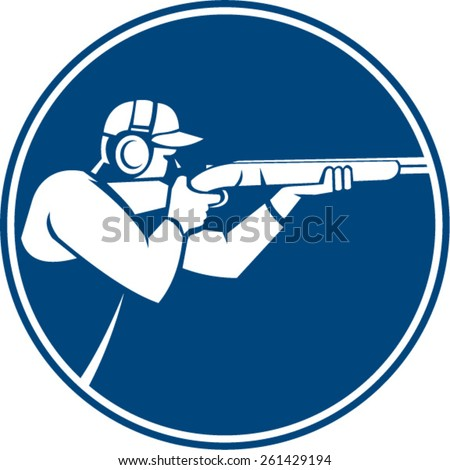 Icon illustration of a man with shotgun shooting aiming in trap shooting sport viewed from side set inside circle on isolated background done in retro style. - stock vector