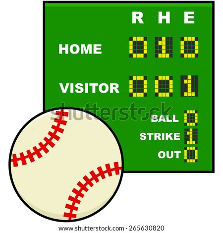 Icon illustration showing a baseball in front of a simplified scoreboard - stock vector