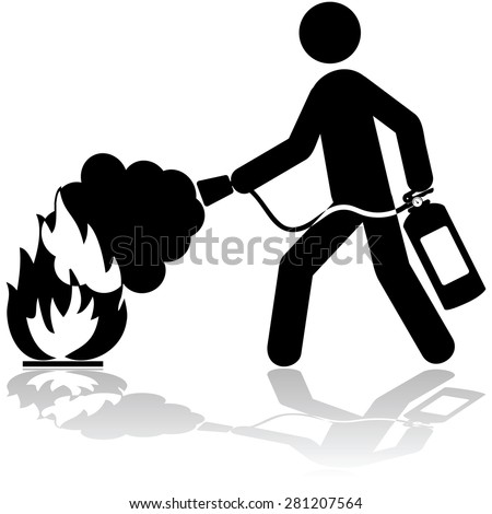 Icon illustration showing a man using a fire extinguisher to put out a fire - stock vector
