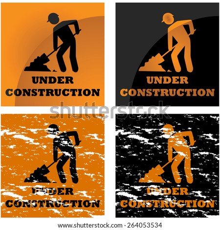 Icon illustration showing four different styles applied to a construction notice sign - stock vector