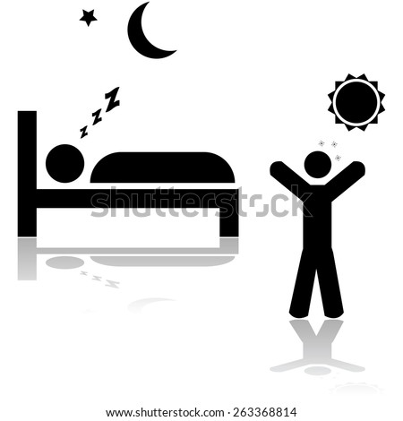 Icon illustration showing one person sleeping at night and another waking up during the day