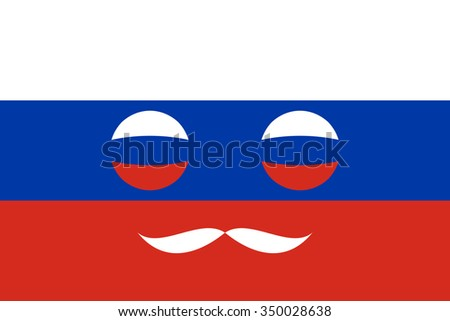 Icon in colors of the Russian flag with mustaches - stock vector