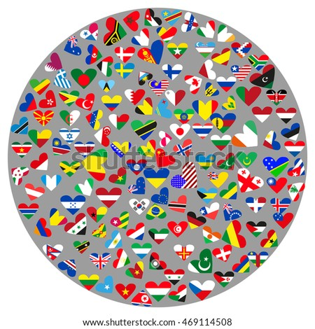 Icon in the form of a circle with the flags of countries on a gray background. Vector illustration