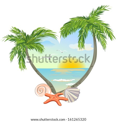 icon in the shape of a heart with the beach and the shells. vector illustration - stock vector