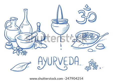 Icon item set ayurveda wellness, spa, with oil bottles, ingredients, water bowl, oil treatment. Hand drawn doodle vector illustration. - stock vector