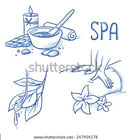 Icon item set wellness, spa, with massage hands, flowers, leafs and water, chocolate treatment, towel and candle. Hand drawn doodle vector illustration. - stock vector
