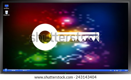 Icon key on the screen monitor. Made vector illustration - stock vector