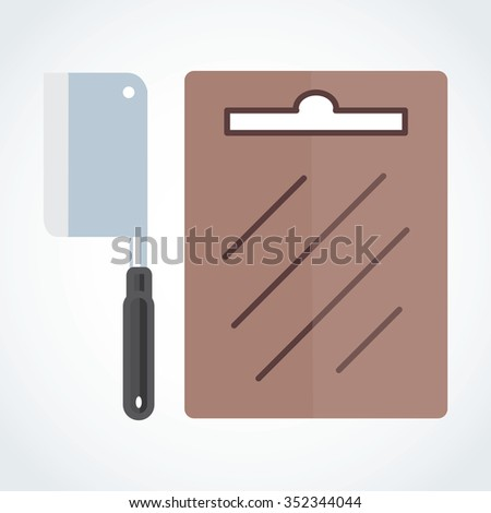 Icon knife and chopping block vectoc eps 10 - stock vector