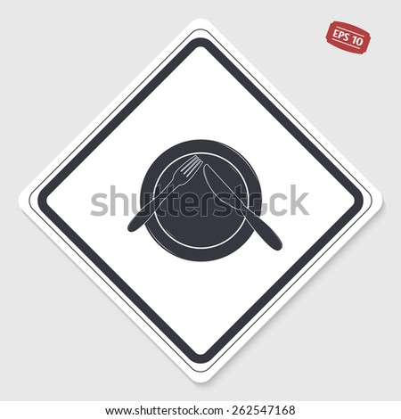 Icon knife, plates and forks. Cafe restaurant. Flat design style. Made vector illustrator. Emblem or label with shadow. - stock vector