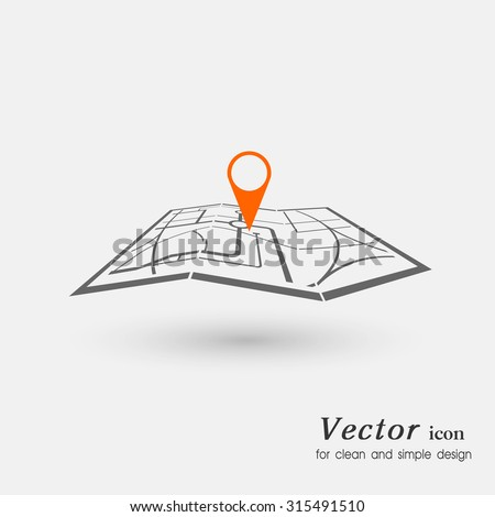 icon  laying of a route travel, tourism navigation - stock vector