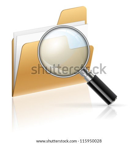 Icon - Magnifying Glass and Folder with Sheets of Paper, Search Concept, isolated on white - stock vector