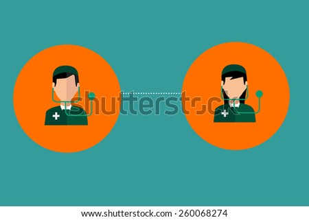 Icon male doctor and women doctor. - stock vector