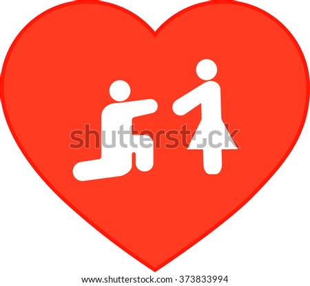 icon man and woman, man makes a proposal to girl of marriage, outlined, red heart vector - stock vector