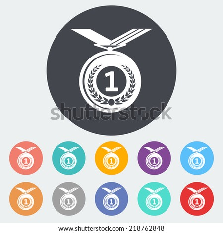 Icon medal. Single flat icon on the circle. Vector illustration. - stock vector