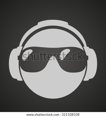 icon men dj in headphone and shutter shades sunglasses. vector print illustration  - stock vector