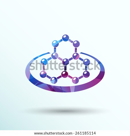 icon molecular research chemistry model atom vector. - stock vector