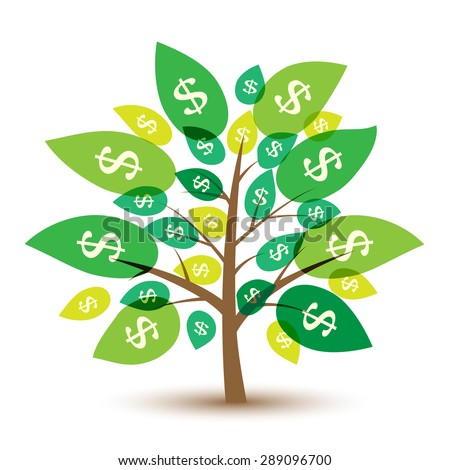Icon money tree with leaves in dollars. Vector Illustration. - stock vector