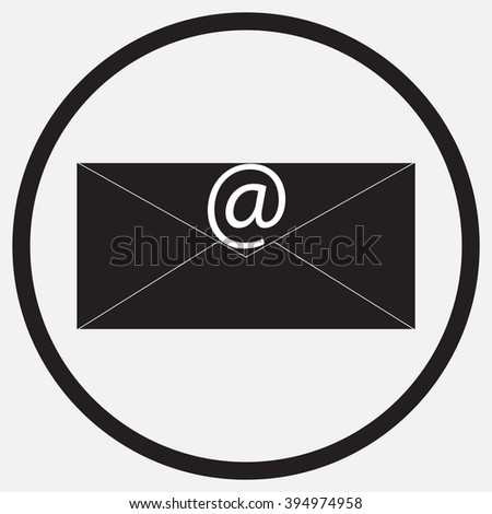 Icon monochrome black white e-mail message. Mail and e-mail icon, e-mail marketing for internet and contact, envelope message, sign mail or  web email. Vector abstract flat design illustration - stock vector