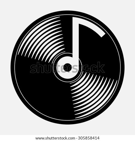 icon music, music CD, an icon for mobile devices music, fully editable vector image