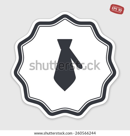 Icon necktie. Business tie. Flat design style. Made vector illustration. Emblem or label with shadow. - stock vector