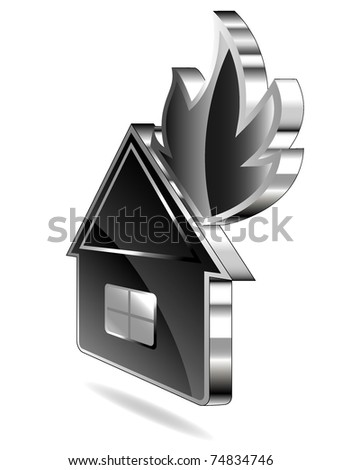 Icon of a burning small house - stock vector