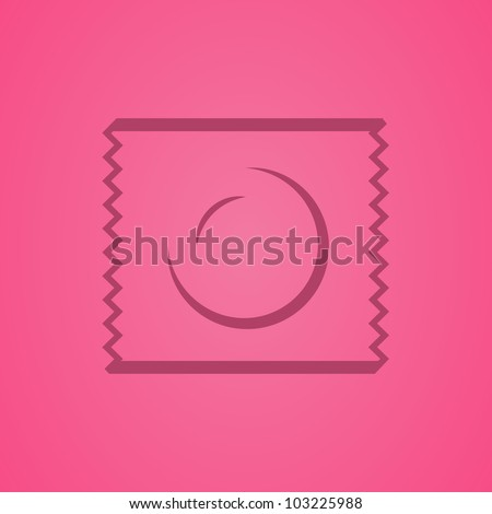 Icon of a condom in a packing - stock vector
