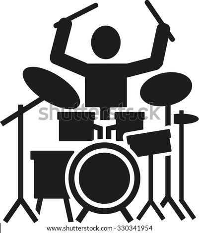 Icon of a drummer with drum kit - stock vector