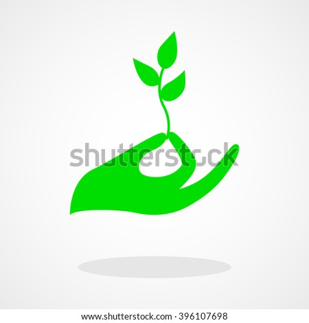Icon of a hand holding a young plant or seed - stock vector