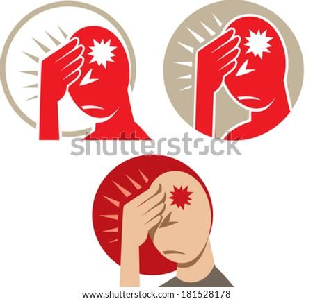 Icon of a headache or migraine - stock vector