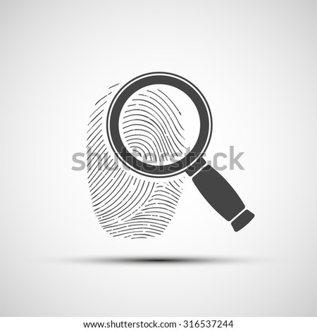 Icon of a human fingerprint. Stock vector illustration. - stock vector