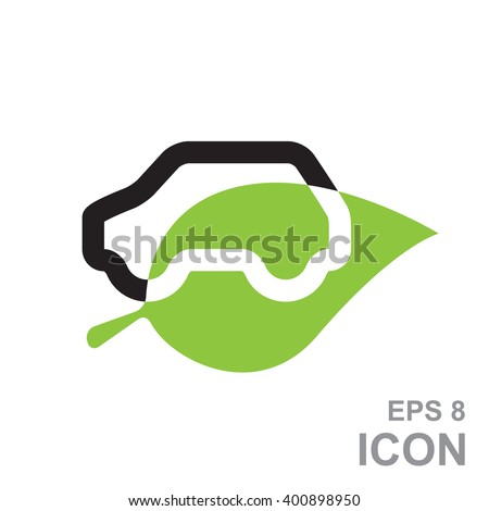 Icon of a hybrid car that runs on electricity. Recharge and clean energy. Eco friendly car logo. Eco car vector emblem. Electric car sign. Eco car silhouette on a green leaf. Eco car eps8 icon. - stock vector
