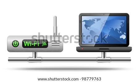Icon Laptop Connected Wireless Router Vector Stock-Vektorgrafik ...