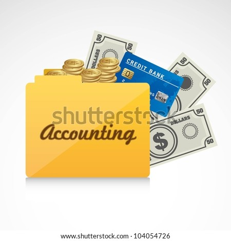 Icon of accounts. Folder accounting reporting vector illustration