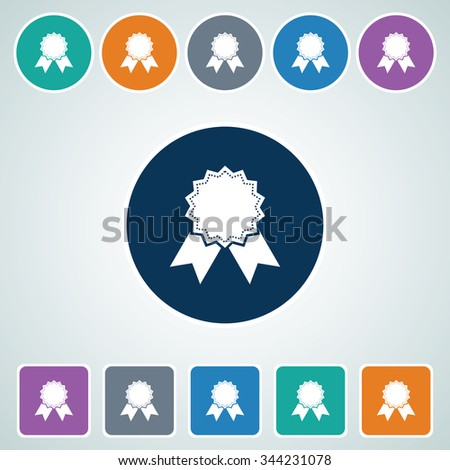 Icon of Badge in Multi Color Circle & Square Shape. Eps-10. - stock vector