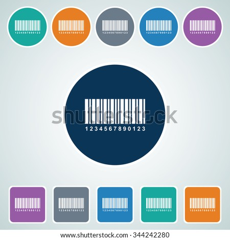 Icon of Bar code in Multi Color Circle & Square Shape. Eps-10. - stock vector