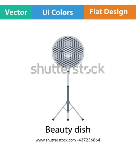 Icon of beauty dish flash. Flat color design. Vector illustration.