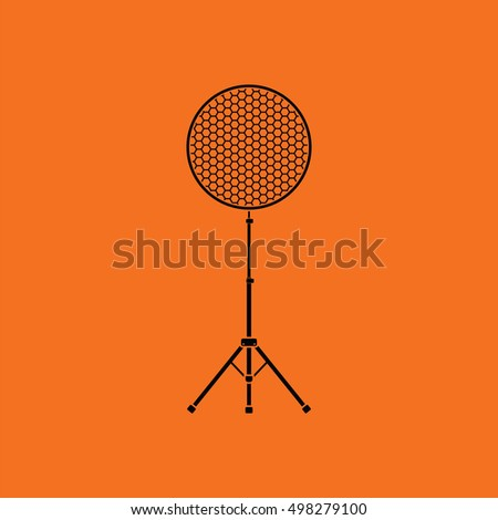 Icon of beauty dish flash. Orange background with black. Vector illustration.