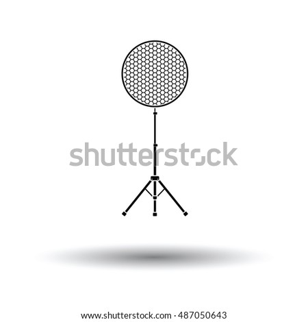 Icon of beauty dish flash. White background with shadow design. Vector illustration.