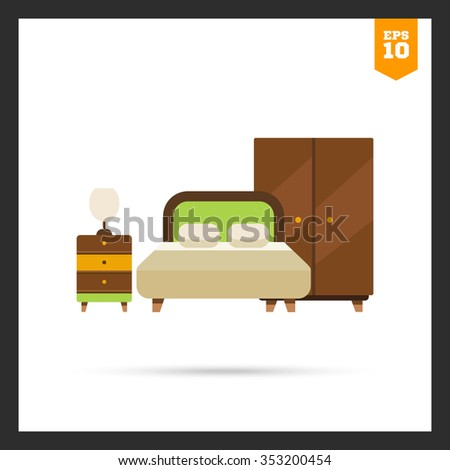 Icon of bedroom interior including double bed, wardrobe and bed cabinet with lamp - stock vector