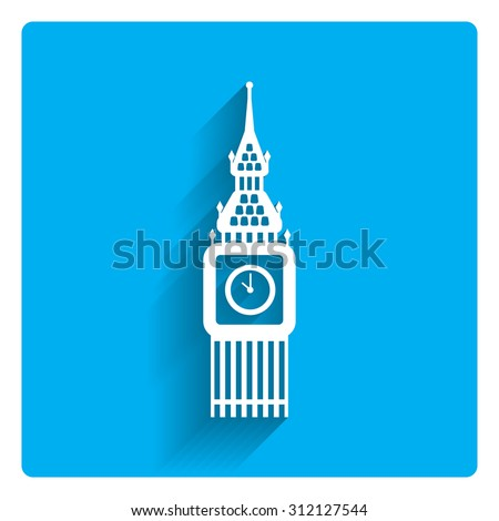 Icon of Big Ben tower - stock vector
