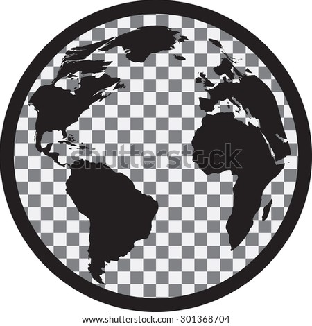 black white globe transparency on continents stock vector