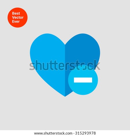 Icon of blue heart sign with minus depicting Remove from  favorites icon - stock vector