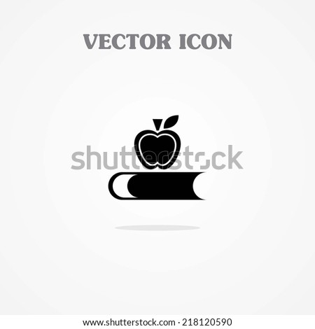 Icon of Book With Apple - stock vector