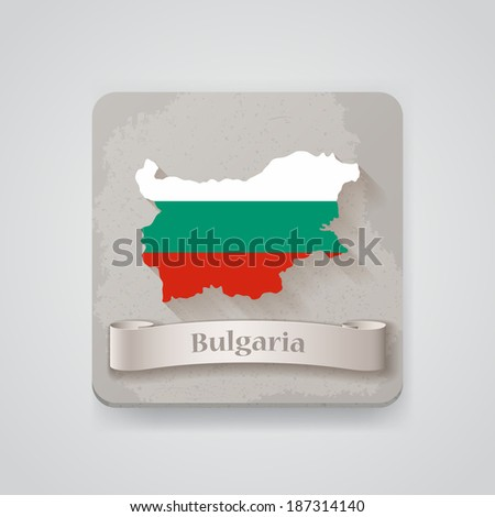 Icon of Bulgaria map with flag. Vector illustration